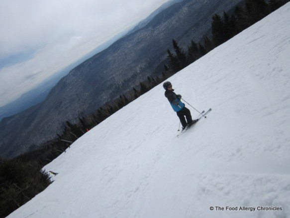 skiing after the fog lifted in Stowe, Vermont