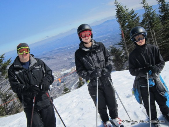 skiing in sunny skies at Stowe Vermont