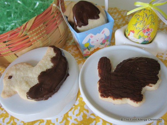 Gluten, Dairy, Egg, Soy and Peanut/Tree Nut Free Shortbread Easter Cookies dipped in melted Enjoy Life chocolate chips