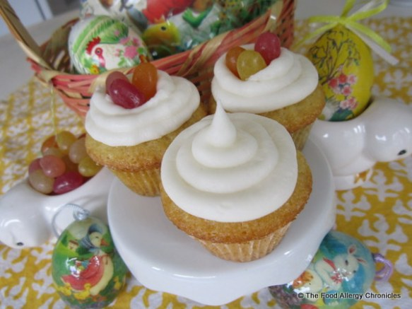 Dairy, Egg, Soy and Peanut/Tree Nut Free Mini Vanilla Easter Cupcakes with and without Surf Sweets Jelly Beans