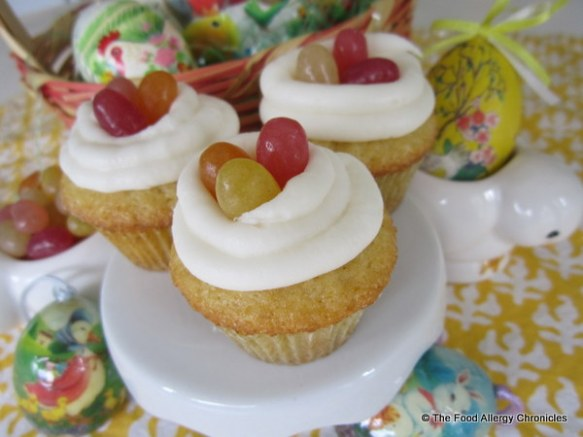 Dairy, Egg, Soy and Peanut/Tree Nut Free Vanilla Mini Cupcakes for Easter