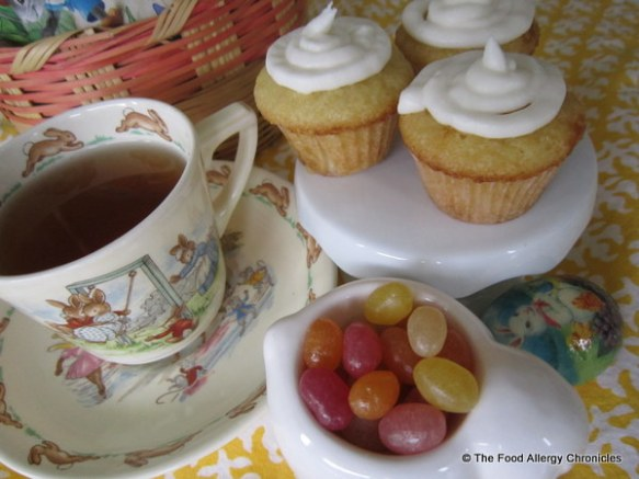 Easter Tea Party with Dairy, Egg, Soy and Peanut/Tree Nut Free Mini Vanilla Cupcakes