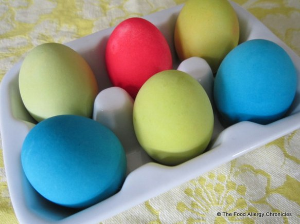 EggNots redyed with the Neon food colouring in blue, green and pink.