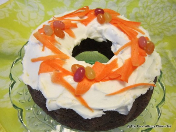 Dairy, Egg, Soy and Peanut/Tree Nut Free Carrot Cake with Lemon Icing in a Bundt pan