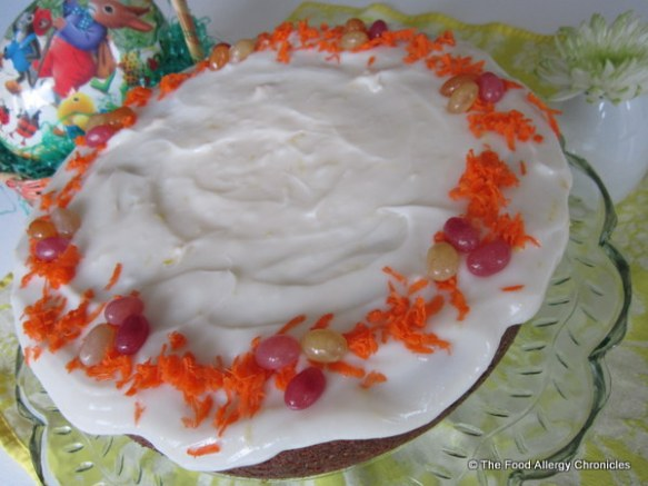 Dairy, Egg and Peanut/Tree Nut Free Carrot Cake with Dairy Free 'Cream Cheese' Icing