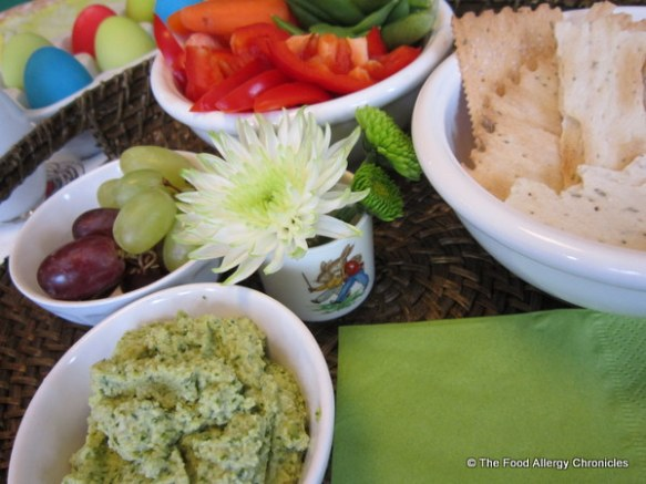 Allergy friendly appetizers of fresh veggies and Spicy Edamame Dip with rosemary crackers