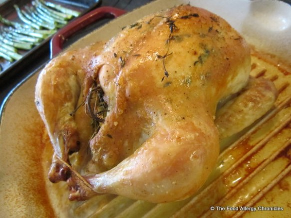 Roasted Chicken with Lemon, garlic and thyme