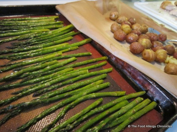 Roasted asparagus and mini potatoes