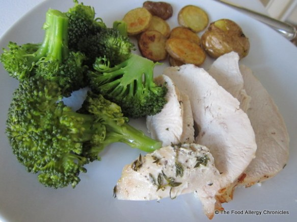 Lilydale turkey breast roast, roasted potatoes and steamed brocolli