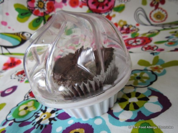 Gluten, Dairy, Egg, Soy and Peanut/Tree Nut Free Chocolate Cupcake in a special cupcake container