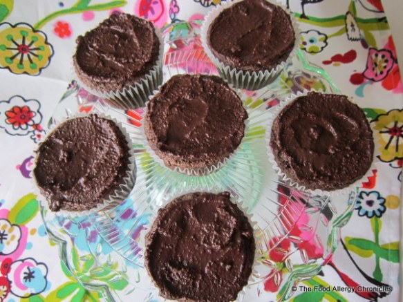 Gluten, dairy, egg, soy and peanut/tree nut free Chocolate Cupcakes with Chocolate Ganache Icing
