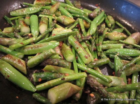 Freshly picked asparagus and sugar snap pea saute