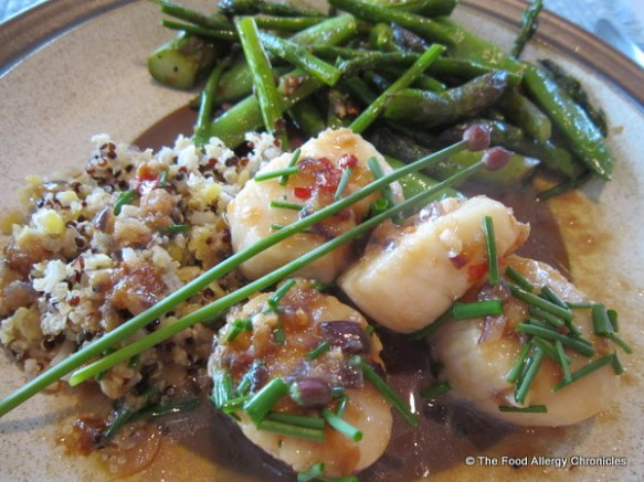 Freshly picked Asparagus and Sugar Snap Pea saute served with Spicy Scallops and Quinoa
