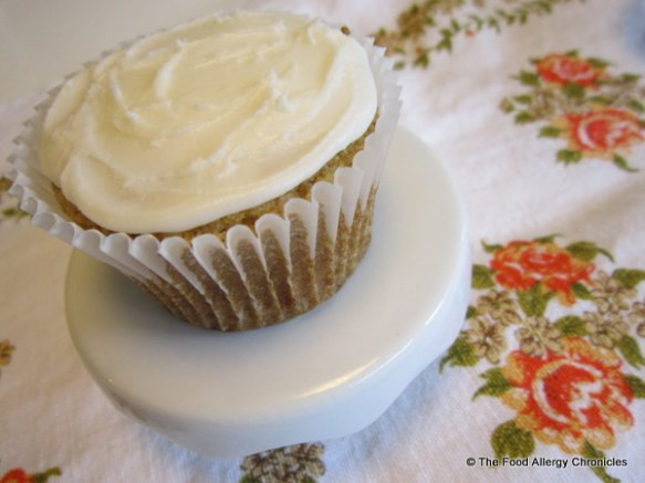 A Gluten Dairy Egg Soy and Peanut/Tree Nut Free Vanilla Cupcake with Dairy/Soy Free Vanilla Icing