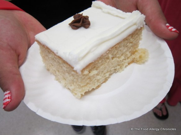 A piece of allergy friendly cake for the school secretary