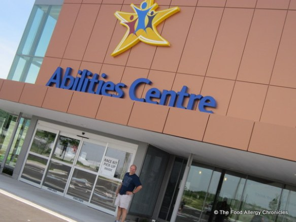 Picking up race package for WIN 1/2 Marathon at the Abilities Centre
