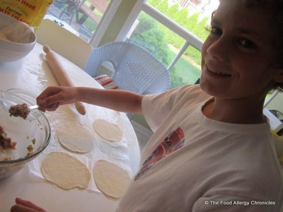 Matthew making his Chinese Dumplings