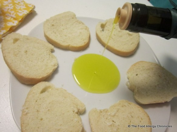 Plate of Michael's homemade bread and Extra Virgin Olive Oil from Cheese Secrets