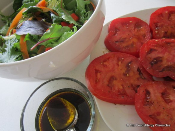 Salad and tomatoes with Extra Virgin Olive Oil and Balsamic Vinegar from Cheese Secrets