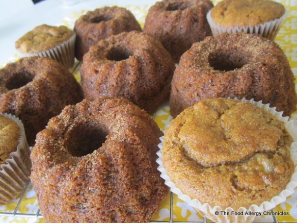 Gluten, Dairy, Egg , Soy and Peanut/Tree Nut Free Mini Banana Bundt Cakes and Muffins