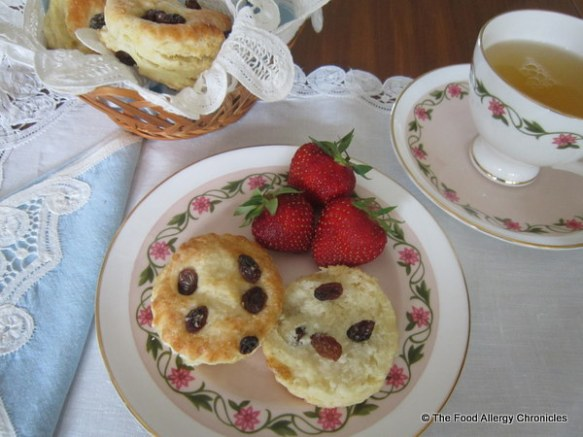 Dairy, Egg, Soy and Peanut/Tree Nut Free Sultana Scones with Strawberries and Tea