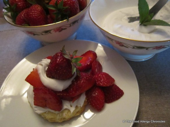 Dairy, Egg, Soy and Peantu/Tree Nut Free Strawberry Shortcake and Coconut Whipped Cream