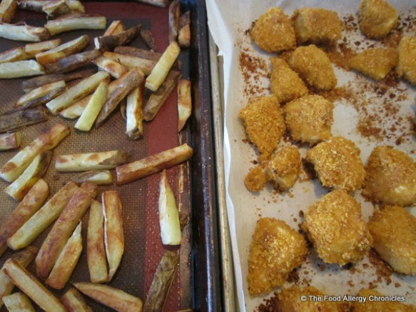 Dairy, Egg and Peanut/Tree Nut Free Chicken Fingers and homemade french fries just out of the oven