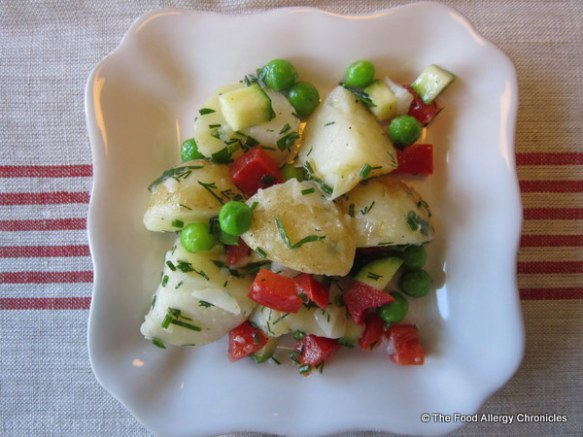 A serving of Dairy, Egg and Mustard Free New Potato Salad With Lemon Vinaigrette