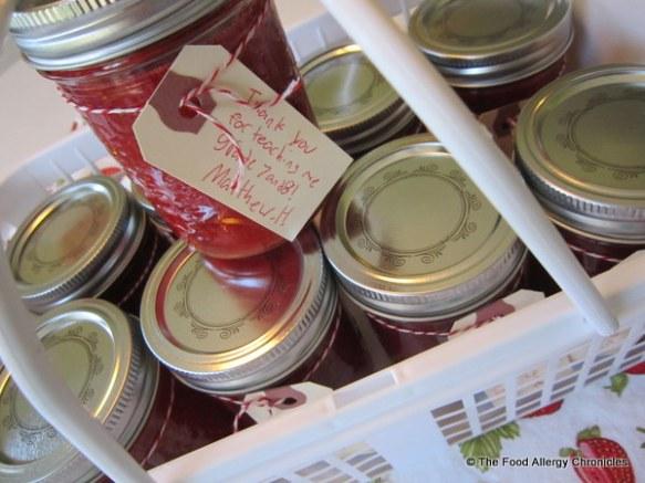 Strawberry Freezer Jam for Matthew's teachers