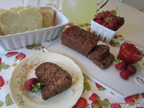 A selection of Dairy, Egg, Soy and Peanut/Tree Nut Free Fresh Bread, Strawberry Bread, Strawberry Bundt Cake and Strawberry Freezer Jam