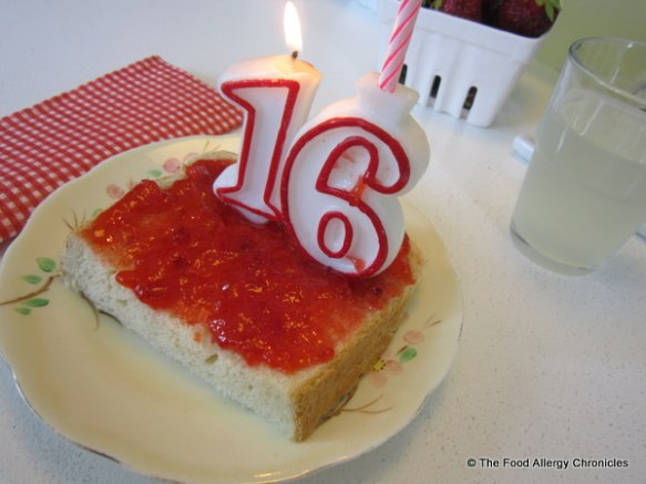 Celebrating a Sweet 16th with Dairy, Egg, Soy and Peanut/Tree Nut Free Fresh Bread and Strawberry Freezer Jam