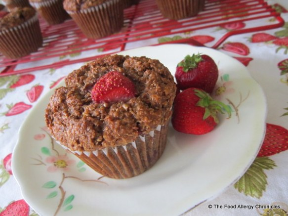 A Dairy, Egg, Soy and Peanut/Tree Nut Free Strawberry Bran Muffin