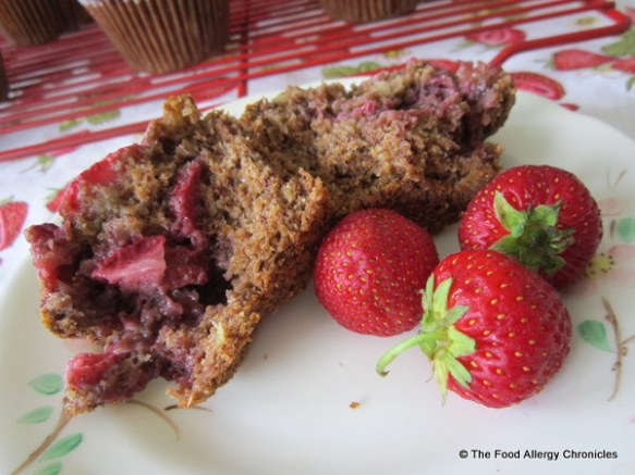 Enjoying a Dairy, Egg, Soy and Peanut/Tree Nut Free Strawberry Bran Muffin