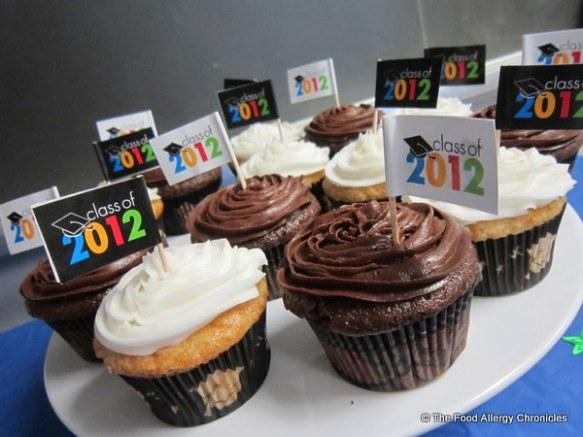 Dairy, Egg, Soy and Peanut/Tree Nut Free Vanilla and Chocolate Graduation Cupcakes