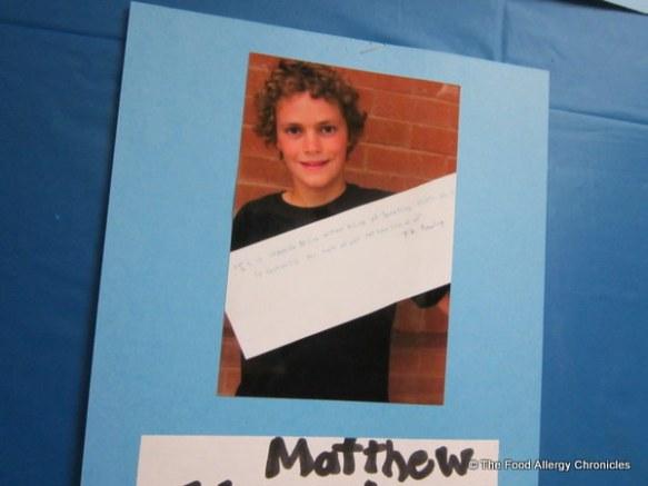 Matthew's inspirational quote for his Grade 8 Graduation, 2012