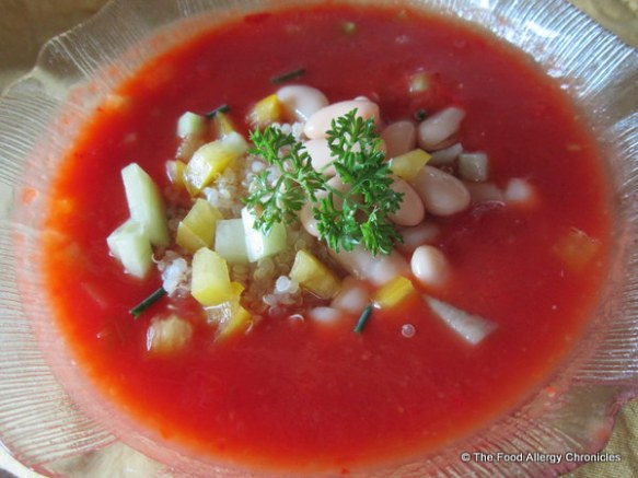 Allergy Friendly Gazpacho with quinoa and white kidney beans