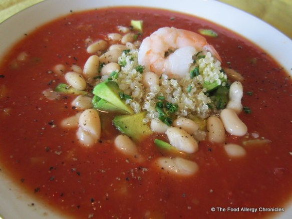 Allergy Friendly Gazpacho with Quinoa, Avacado, Kidney Beans and Shrimp