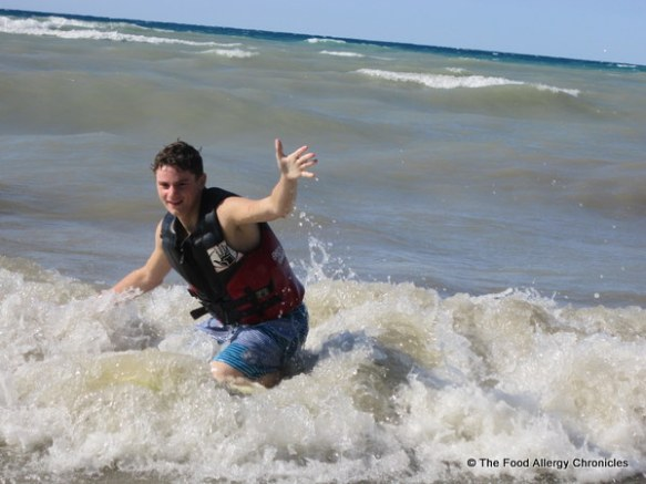 Michael riding the waves