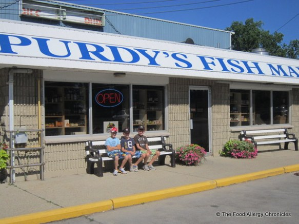 Boys visiting Purdy's Market for their fish supper