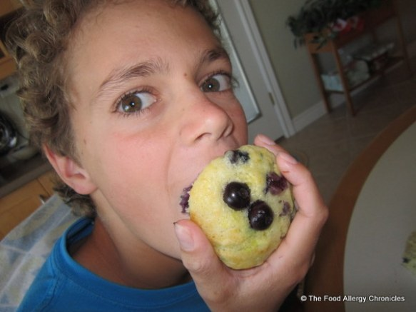 Matthew enjoying a Dairy, Egg, Soy and Peanut/Tree Nut Free Lemon Blueberry Zucchini Muffin