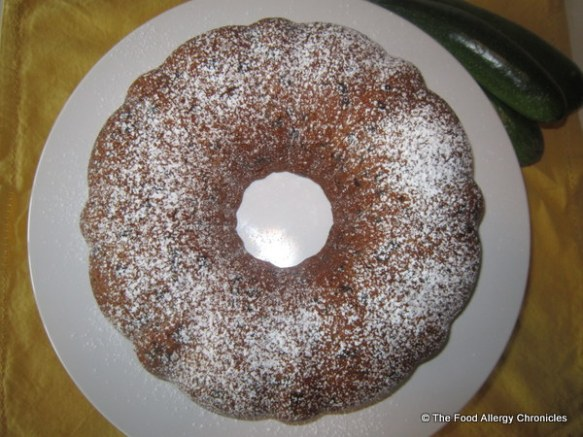 Dairy, Egg, Soy and Peanut/Tree Nut Free Chocolate Chip Zucchini Bundt Cake