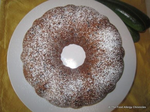 Dairy, Egg, Soy and Peanut/Tree Nut Free Chocolate Chip Zucchini Bundt Cake