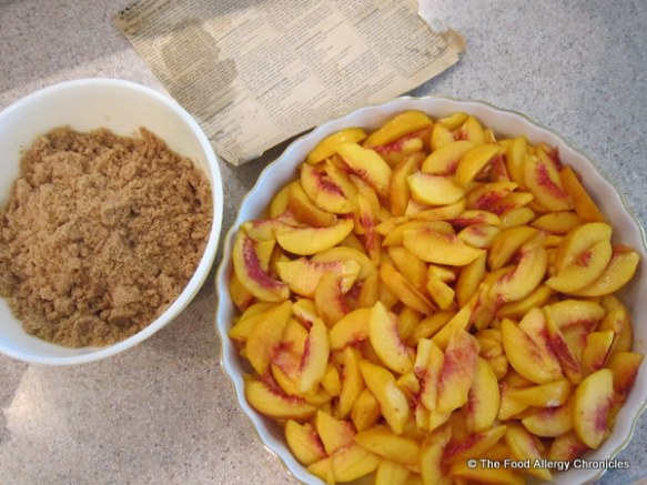 Peaches and crumble all ready to assemble Dairy, Soy and Peanut/Tree Nut Free Summertime Peach Crisp