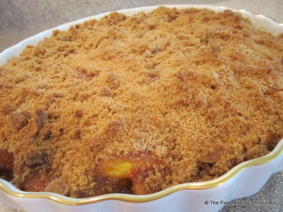 Dairy, Soy and Peanut/Tree Nut Free Summertime Peach Crisp cooling