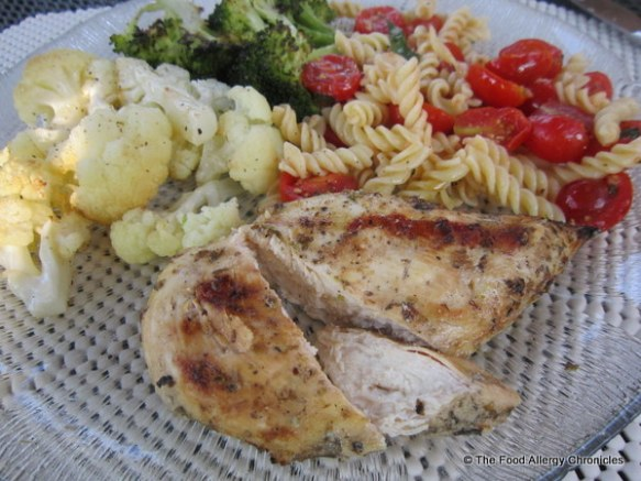 Perfect Allergy Friendly Summertime Dinner of Barbecued Lemon Chicken, Roasted Cauliflower and Brocolli and Bruschetta Pasta