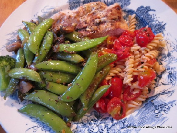 Bruschetta Pasta served with Barbecued Lemon Chicken and Sauteed Sugar Snap Peas