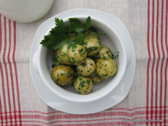 Boiled little potatoes tossed with Dairy and Peanut/Tree Nut Free Parsley and Chive Pesto