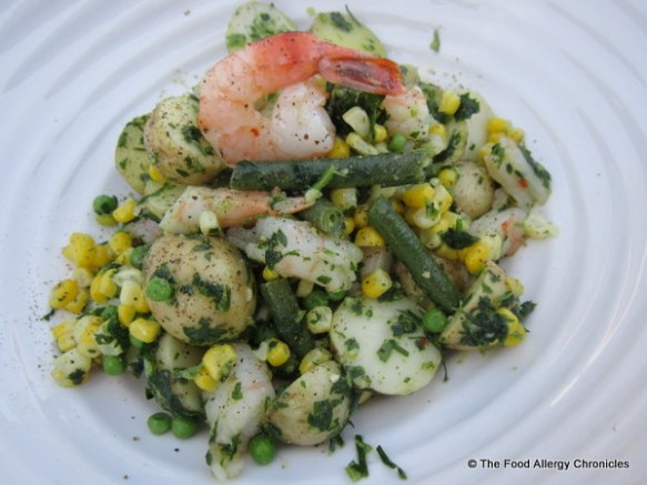 Dairy and Peanut/Tree Nut Free Potato Salad with Roasted Shrimp