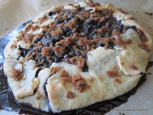 Baked Dairy, Egg, Soy and Peanut/Tree Nut Free Blueberry Crostata ready to serve
