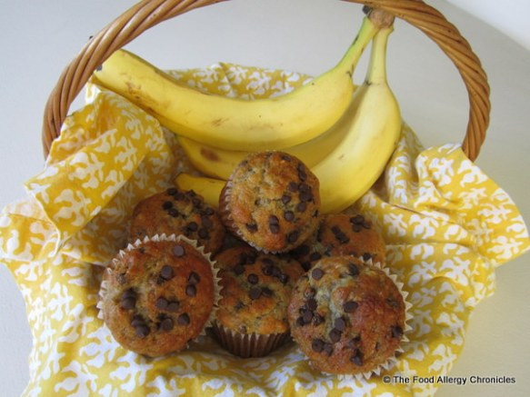 A basket of Dairy, Egg, Soy and Peanut/Tree Nut Free Chocolate Chip Banana Muffins